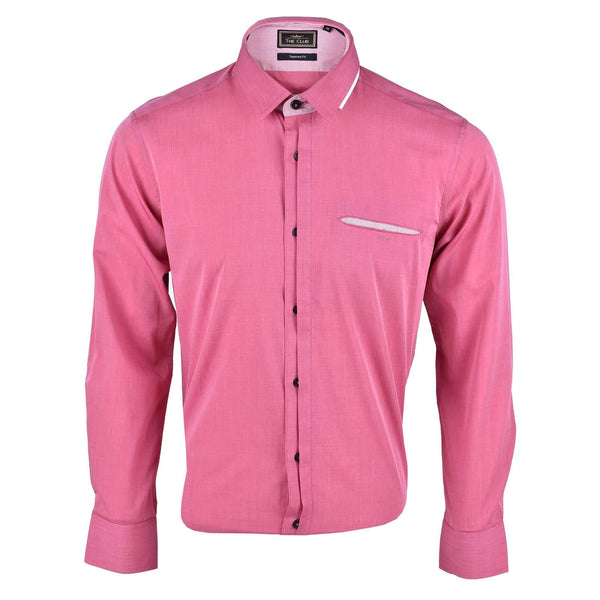 The Club Tapered Fit Cotton Long Sleeve Shirt Long Sleeve Shirt Maroon 9705712 : Buy John Master online at CMG.MY