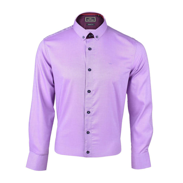 The Club Tapered Fit Cotton Long Sleeve Shirt Purple 9709711 : Buy John Master online at CMG.MY
