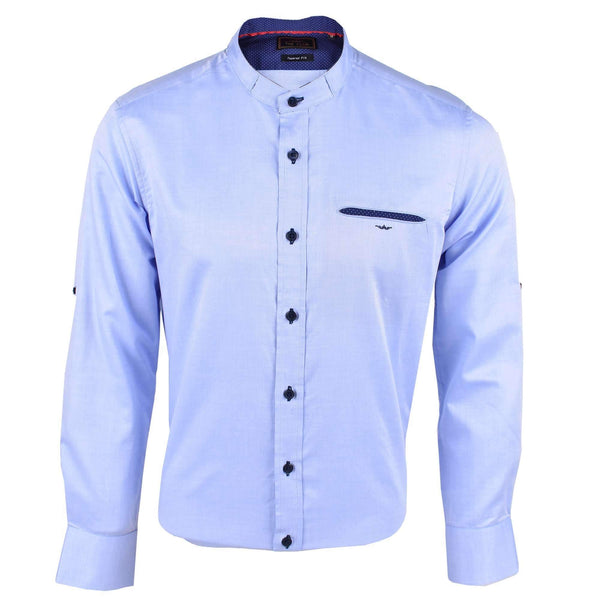 The Club Tapered Fit Cotton Mandarin Collar Long Sleeve Shirt Blue 9705710 : Buy John Master online at CMG.MY
