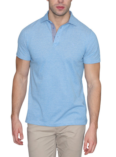 Blue Oxford Knit Short Sleeve Polo front