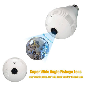 360° Fisheye Lens Camera Lightbulb