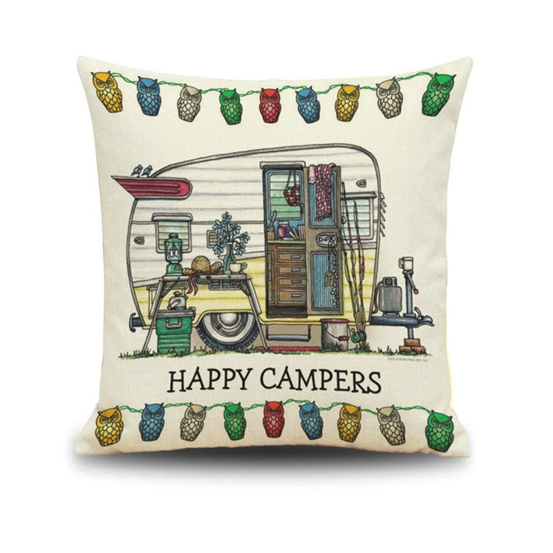 Happy Camper Throw Pillow