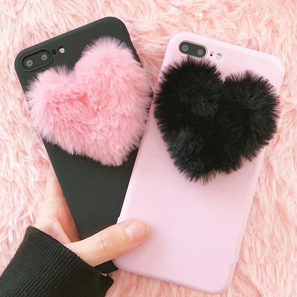 Fluffy Heart Case iPhone 8/8 Plus