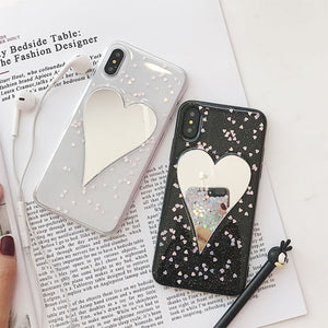 Mirror Heart Glitter Case for iPhone X