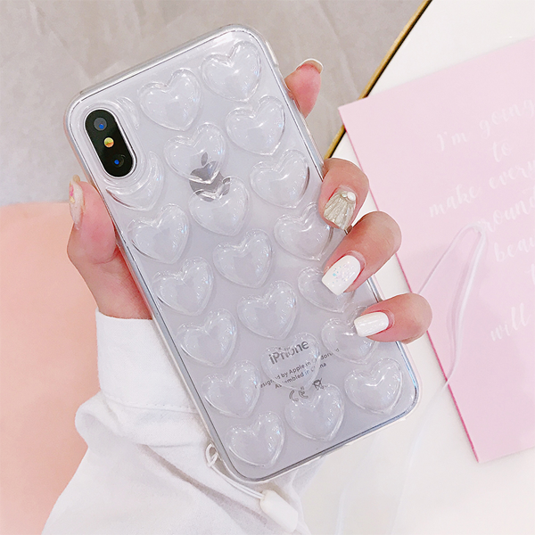 3D Heart Case with Strap for iPhone X