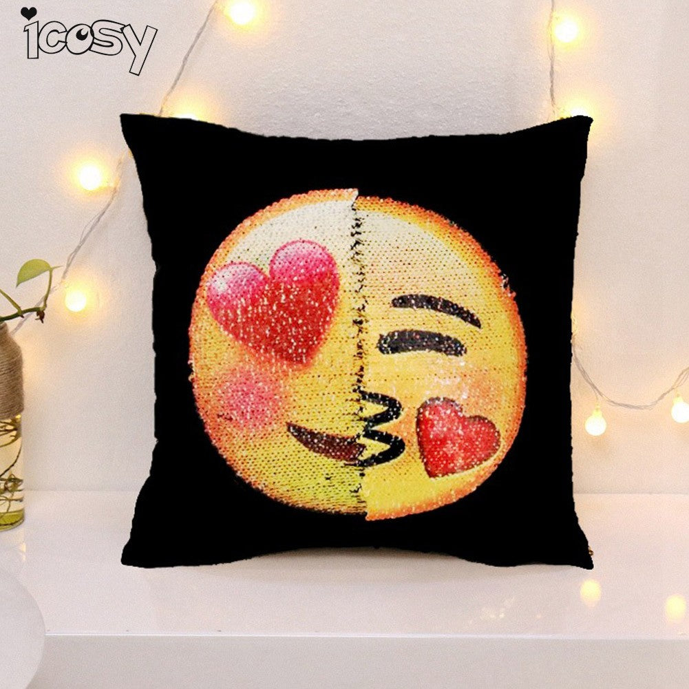 Reversible Emoji Decorative Pillow