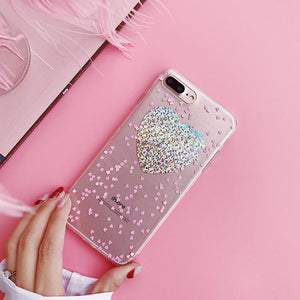 Clear Glitter Heart Case for iPhone 8 & 8 Plus