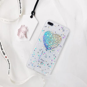 Clear Glitter Heart Case for iPhone 7 & 7 Plus
