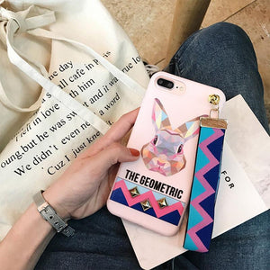 Geometric Animal IPhone Case for iPhone 7/8 & 7/8 Plus - With Wrist Strap!