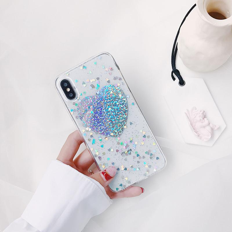 Clear Glitter Heart Case for iPhone X