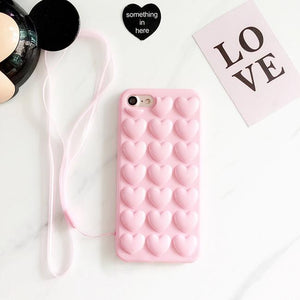 3D Heart Case with Strap for iPhone 7/7 Plus