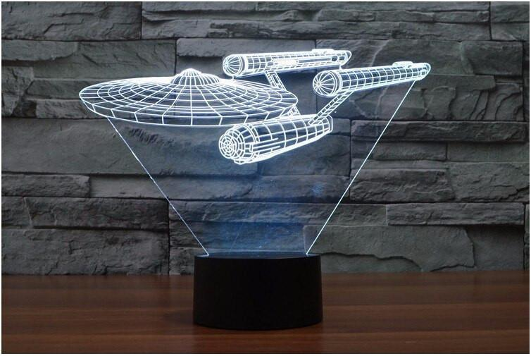 3D USS Enterprise LED Lamp With Multiple Colors