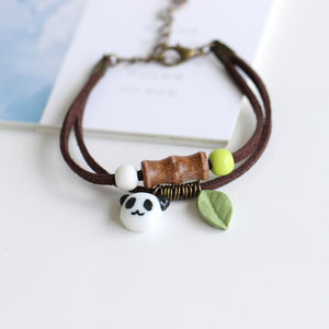 Handmade Unique Cute Panda Ceramic Bracelet
