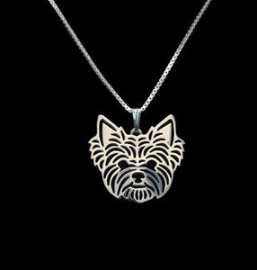 Gold & silver Yorkshire Terrier Necklace 3D Cut