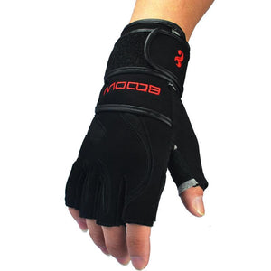 Genuine Leather Men's Half Finger Gym Gloves