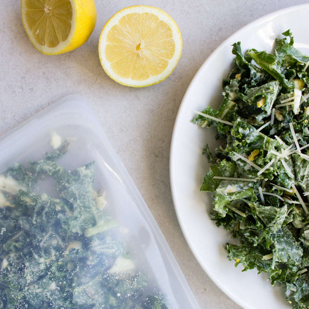 kale salad in a stasher bag