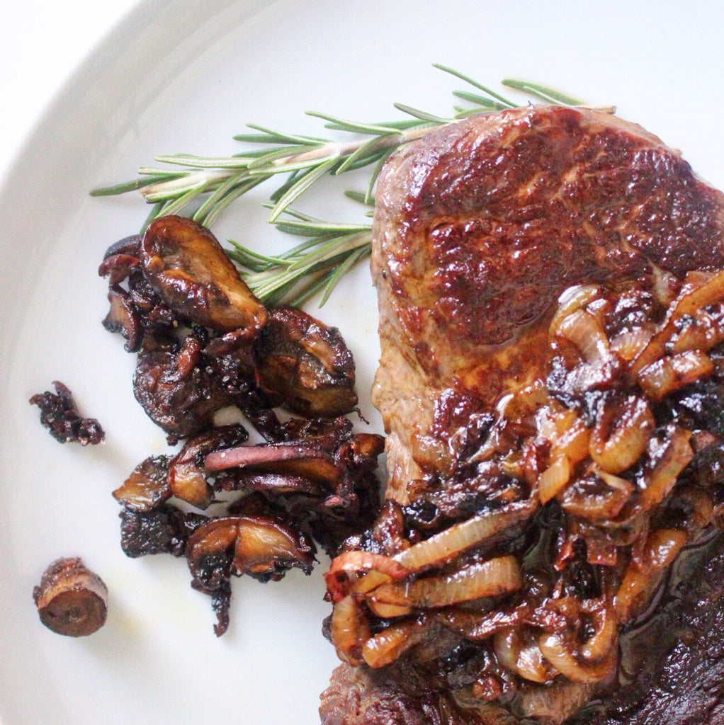 sous vide rosemary steak, roasted mushrooms and shallot sauce with stasher bag
