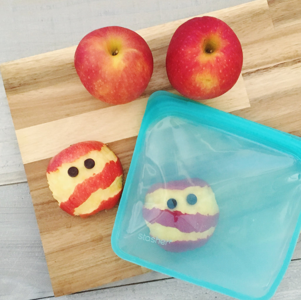 apple mummies healthy halloween snack