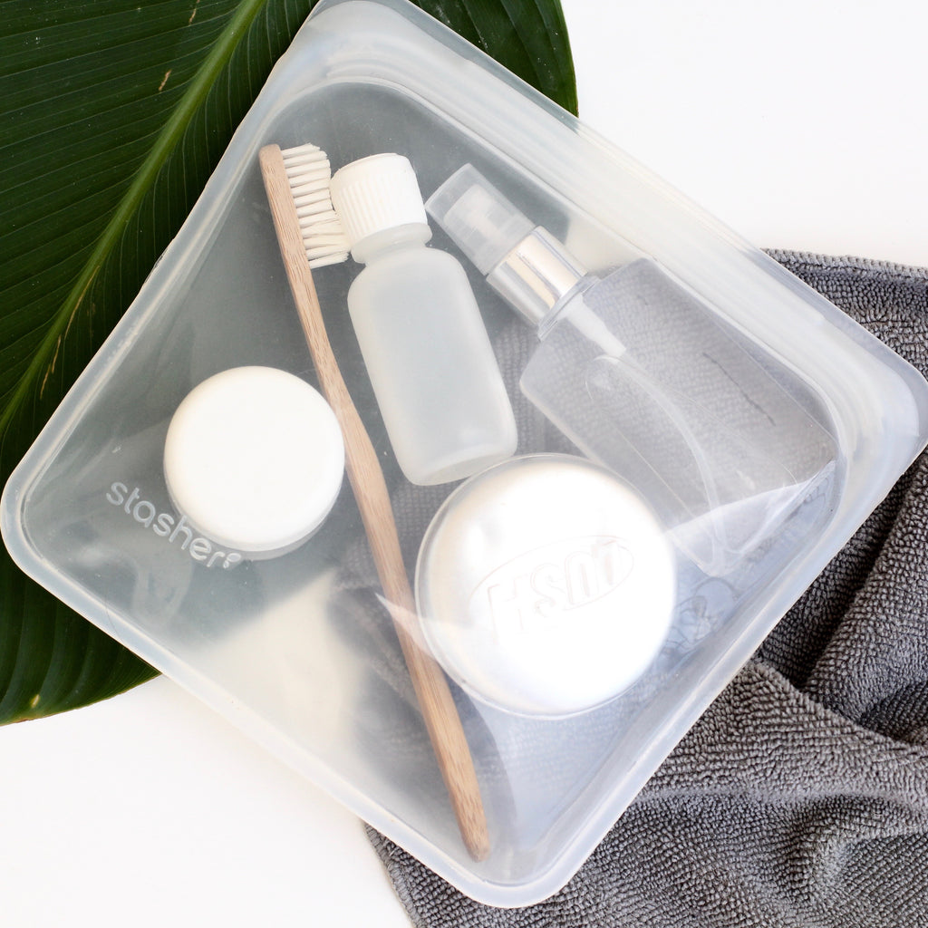 travel toiletries in a stasher bag