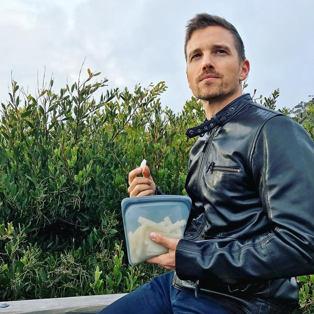 Liana Blackburn's husband snacking with stasher bag