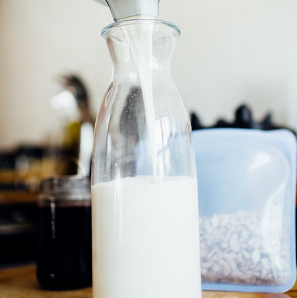 cashew milk with stasher bag