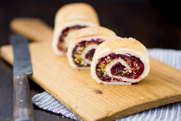 gluten free rugelach with cranberry jam and chocolate