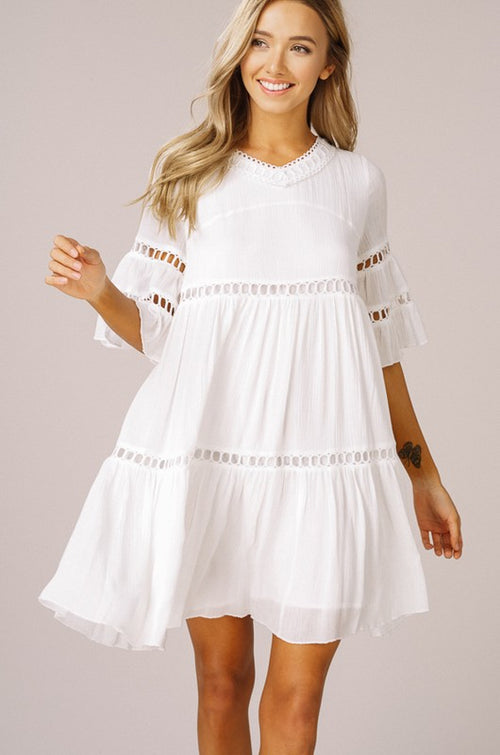 BELL SLEEVE RUFFLE BABYDOLL DRESS