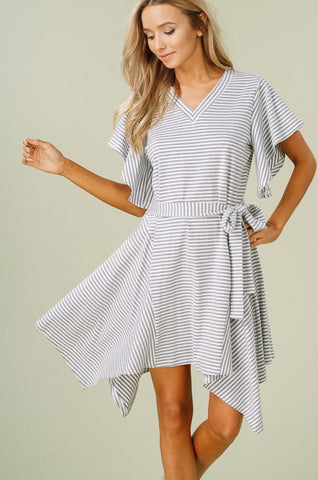 Striped Babydoll Dress in Brick