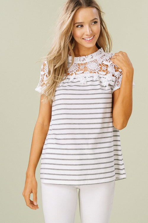 Falling For You Striped Crochet Top