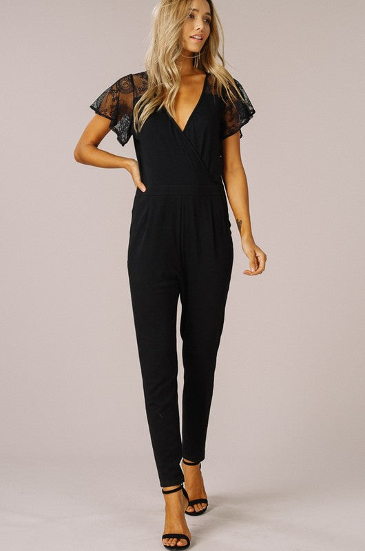 LACE SHORT SLEEVE V-NECK JUMPSUIT