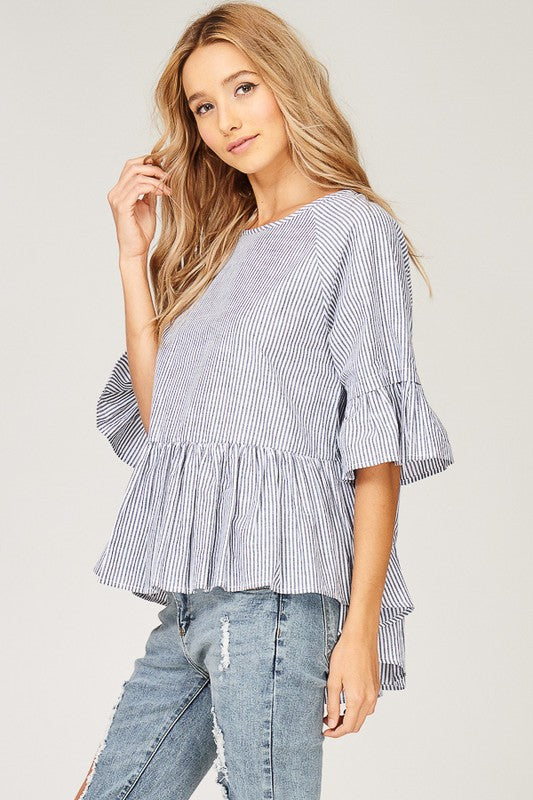 STRIPED HIGH LOW SKIRTED TOP