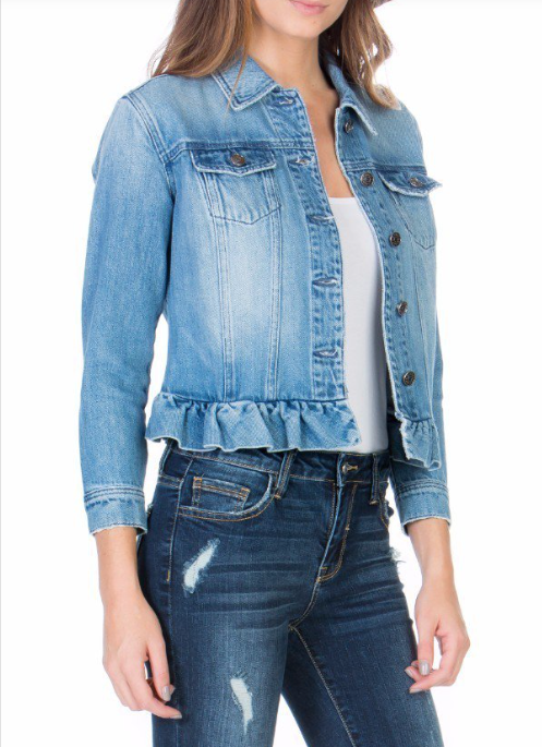 RUFFLE DENIM JACKET