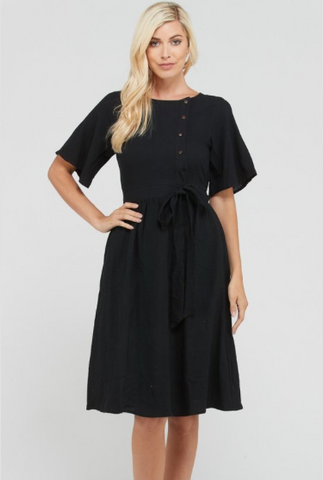 Floret Organza Dress in Black