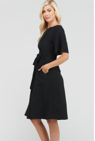 The Manila Button Pocket Dress In Black