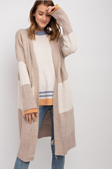 Willow Cream Color Block Cardigan