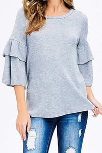 Romantic Ruffles Blouse Stone Grey