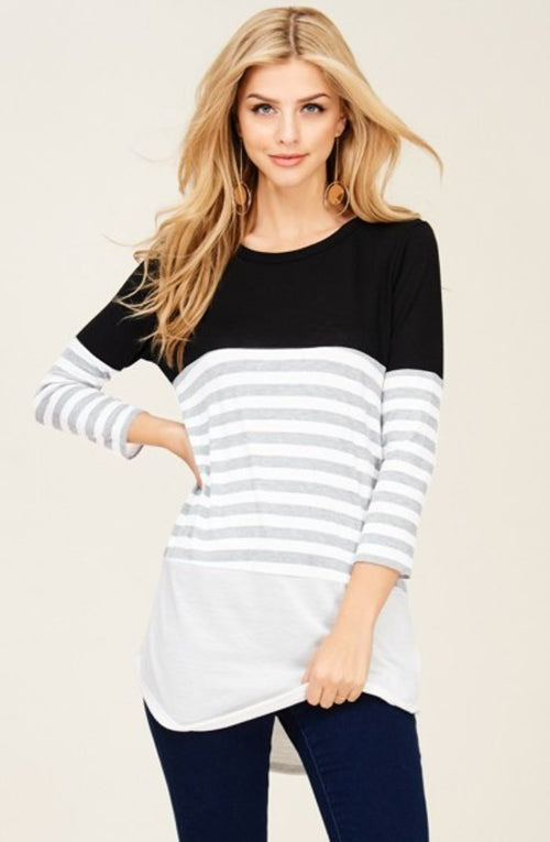 Contrast Tunic - Ivory/Black