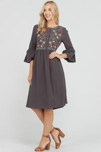 The Michigan Floral Embroidered Cotton Midi Dress