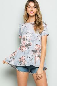 Misty Gray Flower High Low Top