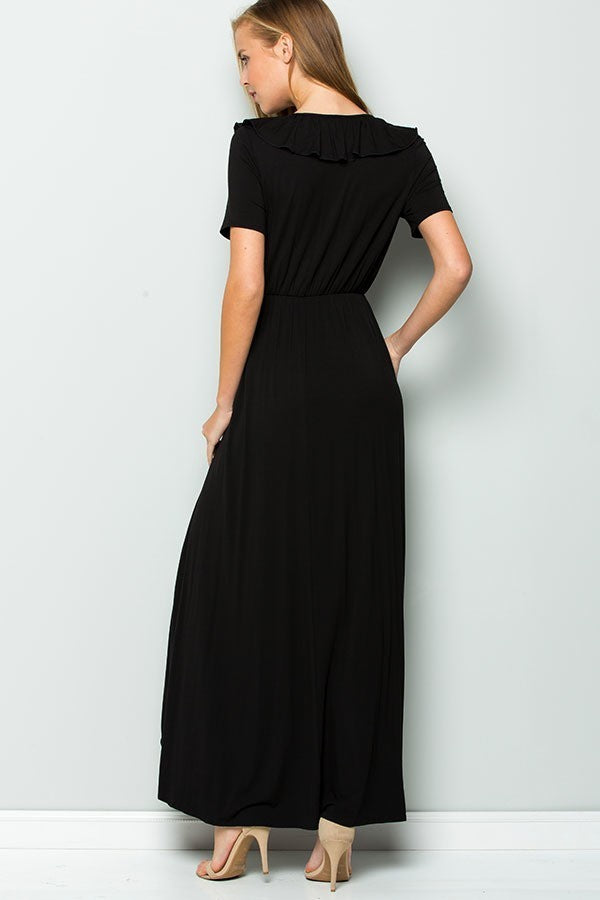 CRESCENDO BLACK WRAP MAXI DRESS
