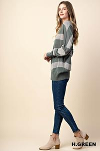 Soft Striped Sweater- Heather Grey/Green