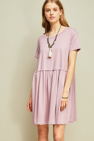 KNITTED TIE WAIST RIB DRESS