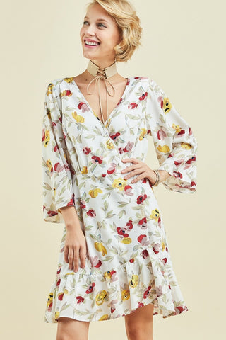 APPLIQUE CRESTED PRINT A LINE DRESS