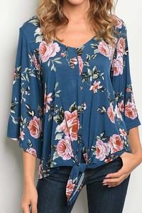 Moving On Floral Tie Top