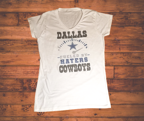 "Ladies Cowboys ""Fueled By Haters "" V-neck T-shirt"
