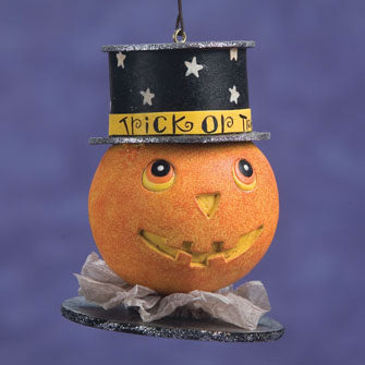 Pumpkin with Top Hat Ornament 16177