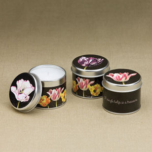 Floral Black Candle Tins 16646