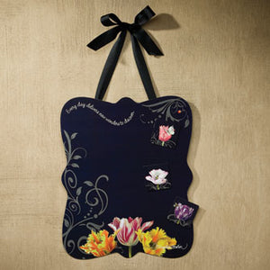 Floral Black Memo Board with Magnets 16705