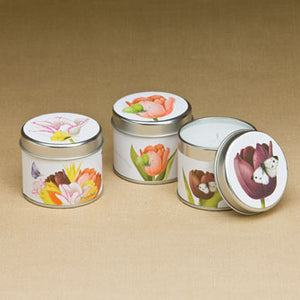 Floral White Candle Tins 16645