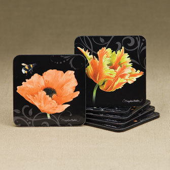 Orange Floral Coasters - Set of 6 Assorted 16655